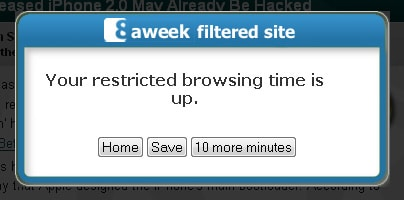 Your restricted browsing time is up